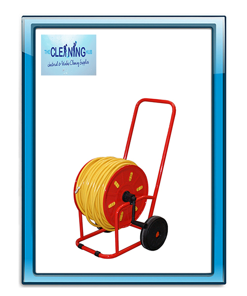 Wheeled Sturdy Metal Hose Reel Red Plated