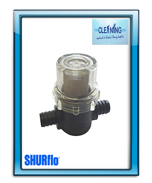 Shurflo In Line Strainer with hose barbs